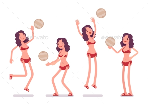Woman in a Bikini Set Playing Beach Volleyball - People Characters