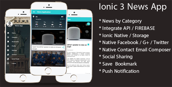 ionic three News app with Firebase (Mobile)