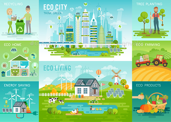 Eco Living Infographic - People Characters