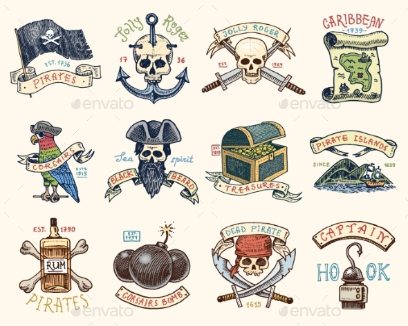 Set of Engraved, Hand Drawn, Old, Labels or Badges - Miscellaneous Vectors