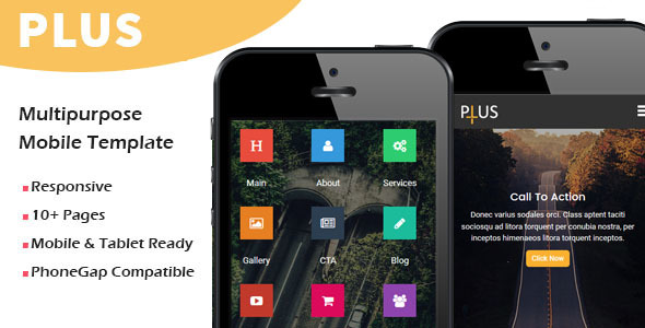 Plus - Multipurpose Responsive Mobile Template - Mobile Site Templates