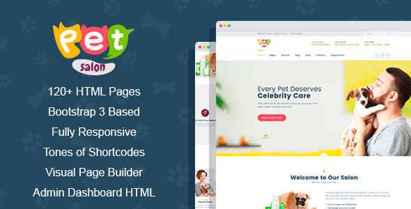 Pet Salon - Pet Grooming HTML Template with Visual Page Builder and Dashbord Front End