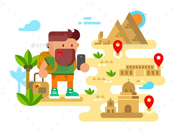 Man Travels Around the World - People Characters