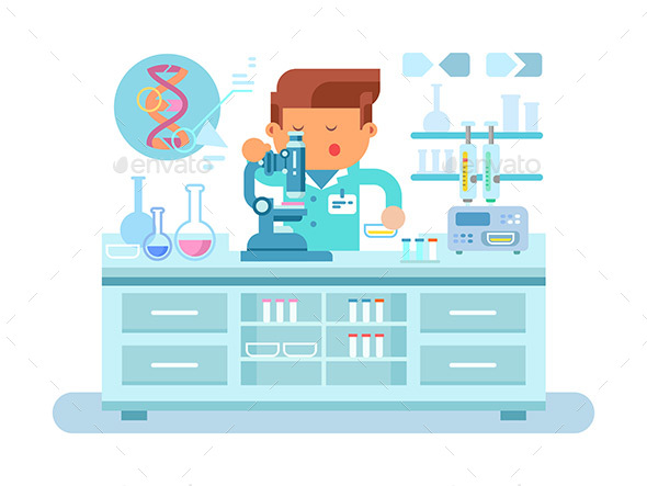 Genetics Doctor During Work at Laboratory - People Characters