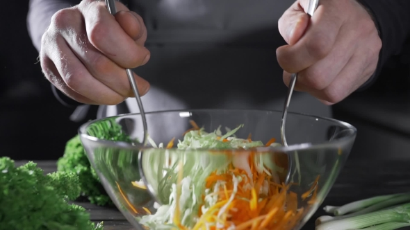 VideoHive The Cook Makes Vegetable Salad with Cabbage and Carrot Vegetarian Meal Fresh Food and Vitamins 20209818