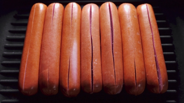 VideoHive Sausages Opens on the Frying Pan Because of Temperature Roasted Crispy Sausages of Food Cookin 20209846