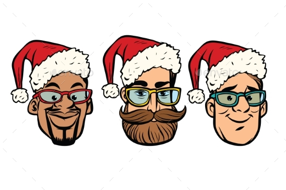 Head Santa Claus Multi-ethnic Group - Christmas Seasons/Holidays