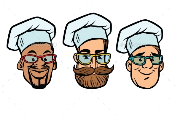 Head Chefs Multi-Ethnic Group - Food Objects