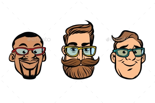 Head of Hipsters Multi-ethnic Group - People Characters