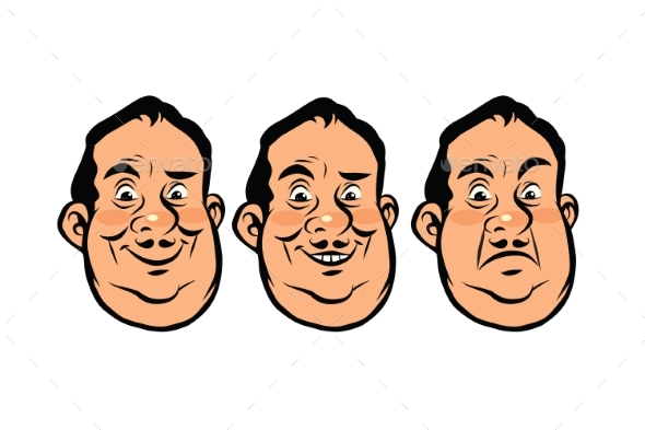 Three Emotions of Fat Head - People Characters