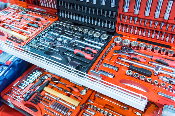 Professional toolboxes, toolkits for auto service - Stock Photo - Images