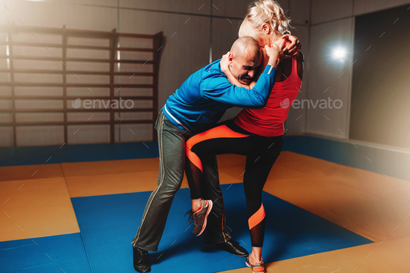 Womens self defense workout with instructor - Stock Photo - Images