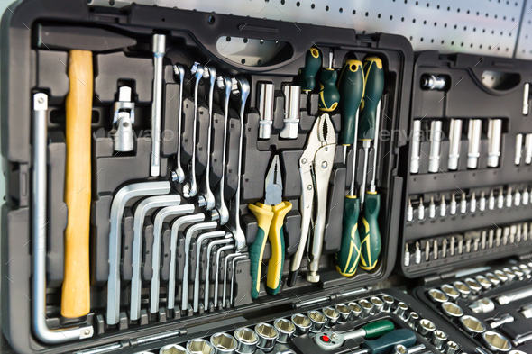 Professional mechanical tools for auto service - Stock Photo - Images