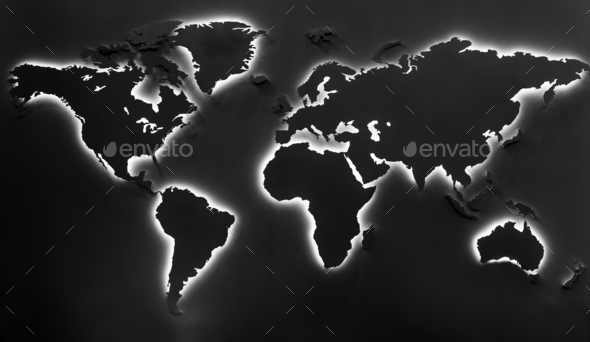 Illuminated earth map on black background - Stock Photo - Images