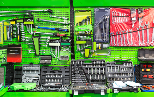 Professional workshop equipment, special tools - Stock Photo - Images