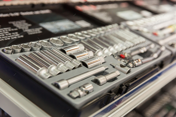 Toolbox with many steel heads closeup - Stock Photo - Images