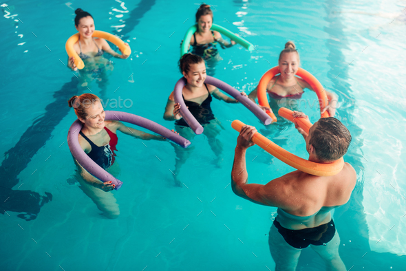 Aqua aerobics, healthy water sport - Stock Photo - Images