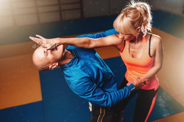 Women self defense technique, martial art - Stock Photo - Images