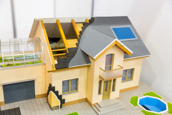 Model of house, thermal insulation of roof concept - Stock Photo - Images