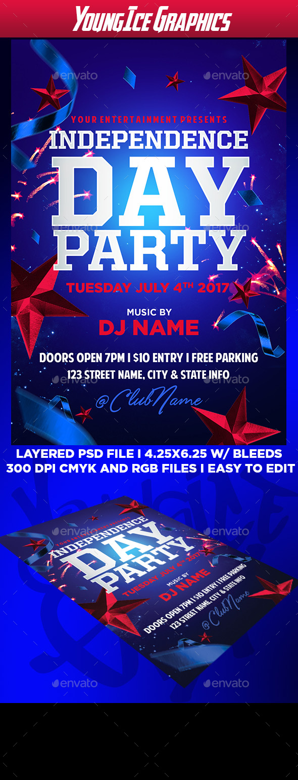 Independence Day Party Flyer - Clubs & Parties Events