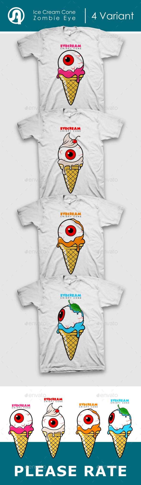 Set Of Ice Cream COne With Zombie Eye - T-Shirts
