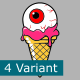 Set Of Ice Cream COne With Zombie Eye - GraphicRiver Item for Sale