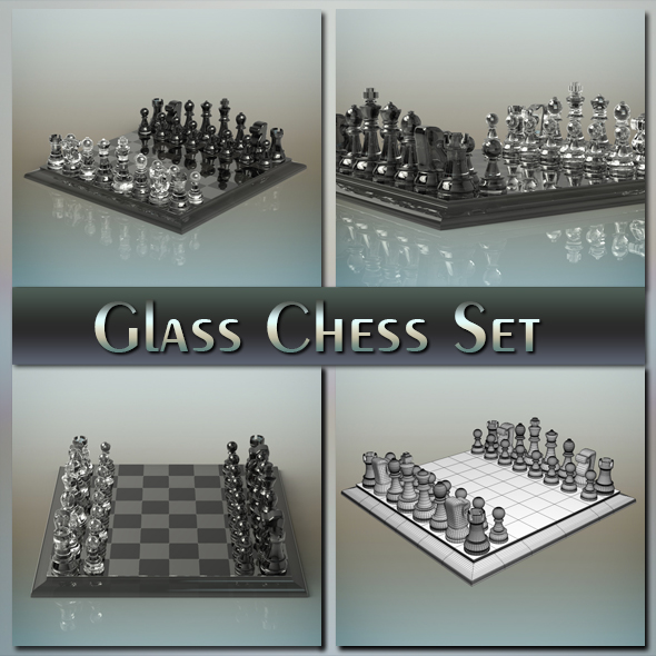 Glass Chess Set - 3DOcean Item for Sale