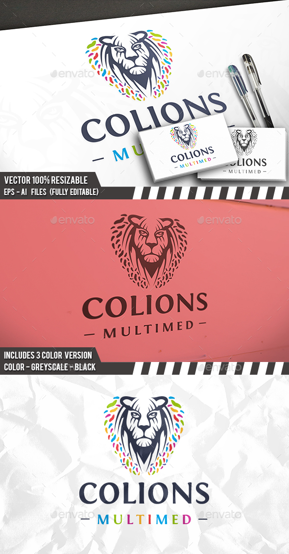 Colorful Lion Logo - Animals Logo Templates