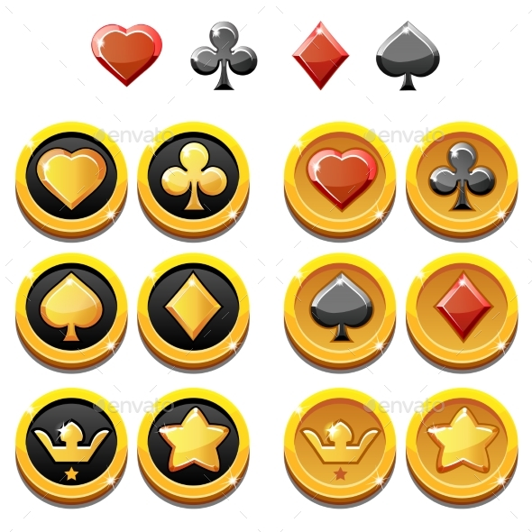 Vector Set Illustration of Gold Icons and Coins - Business Conceptual