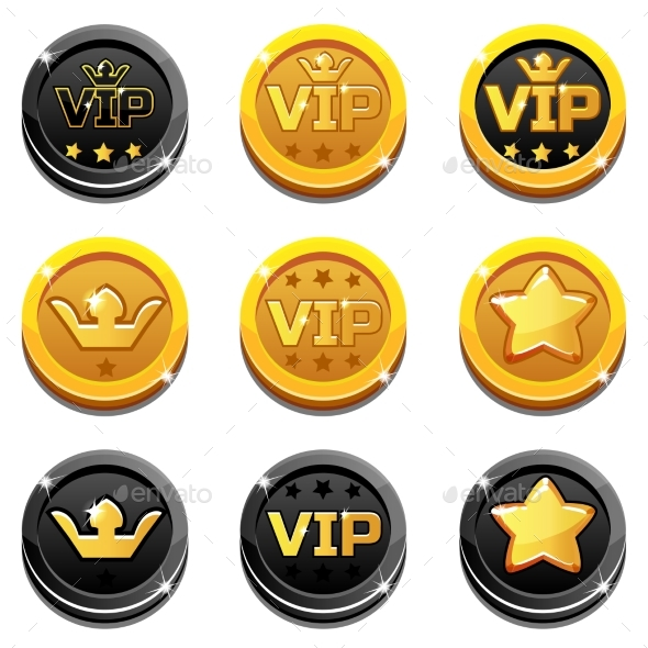 Cartoon Vip and Crown Coins - Business Conceptual