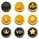 Cartoon Vip and Crown Coins - GraphicRiver Item for Sale