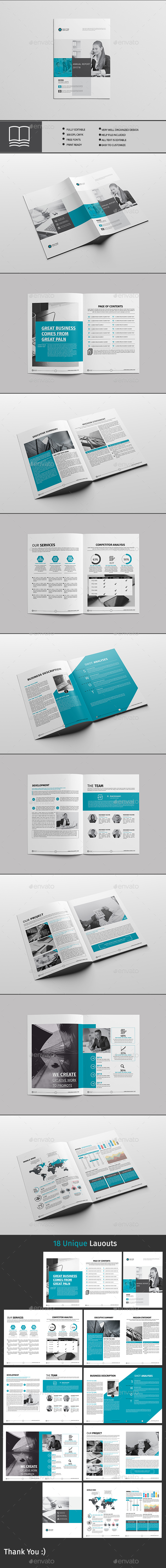 Annual Report 18 Page - Brochures Print Templates
