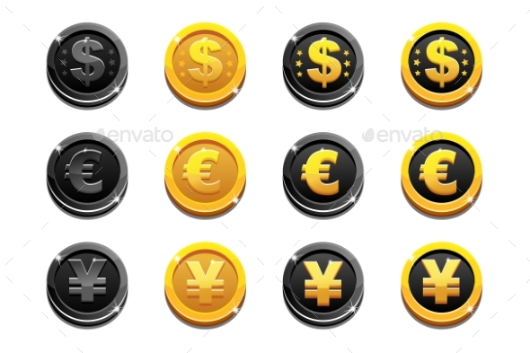 Cartoon Set Golden and Black Dollar, Euro and Yen - Man-made Objects Objects