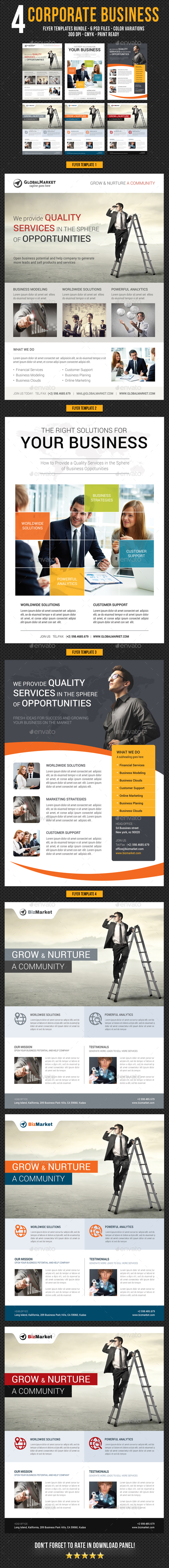 4 Corporate Business Flyer Templates Bundle V3 - Corporate Flyers