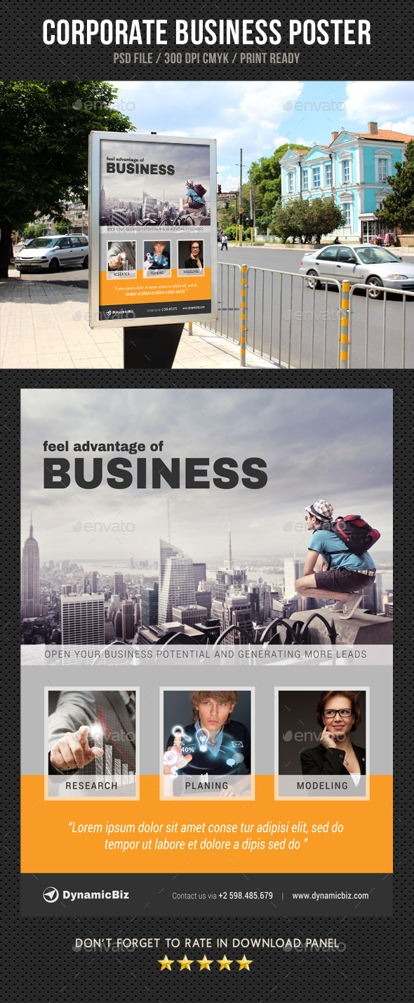 Corporate Business Poster Template V25 - Signage Print Templates