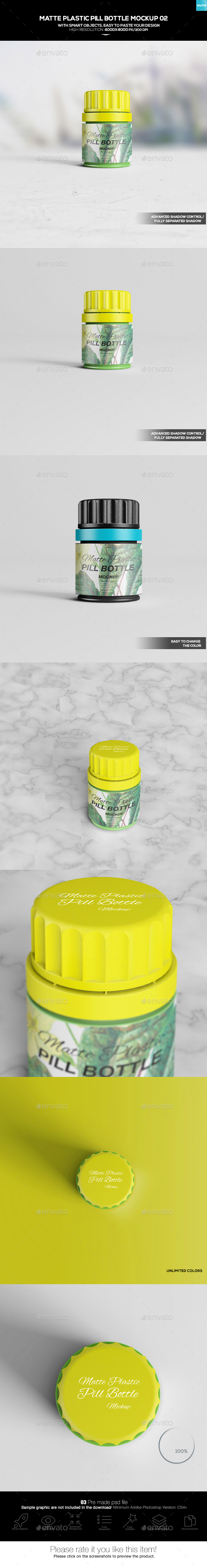 Matte Plastic Pill Bottle Mockup 02 - Miscellaneous Packaging