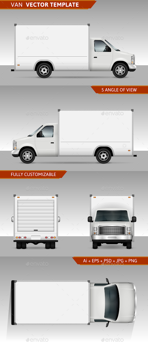 Cargo Van Vector Template - Man-made Objects Objects