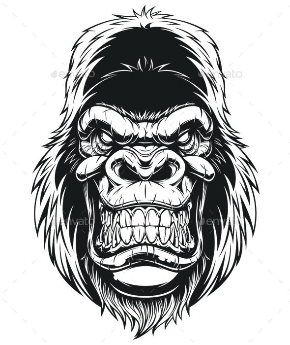 Gorilla Head - Animals Characters