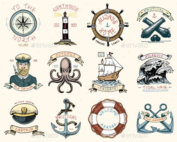 Set of Engraved Vintage Labels - Miscellaneous Vectors