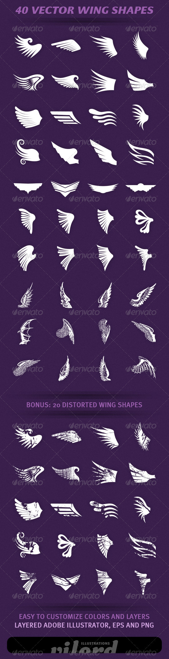 40 Wing Shapes - Decorative Symbols Decorative