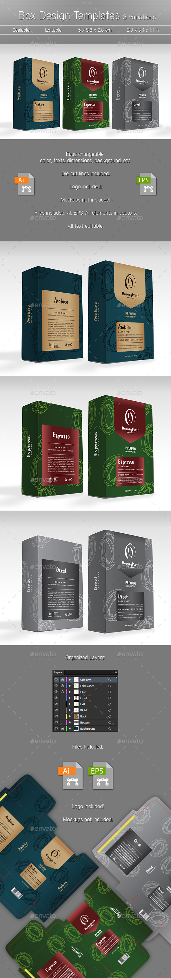 3 Box Package Design Templates - Packaging Print Templates