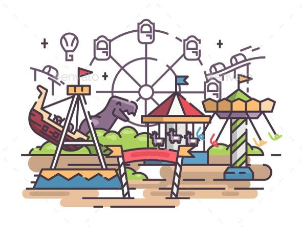Amusement Park with Swing and Ferris Wheel - Man-made Objects Objects