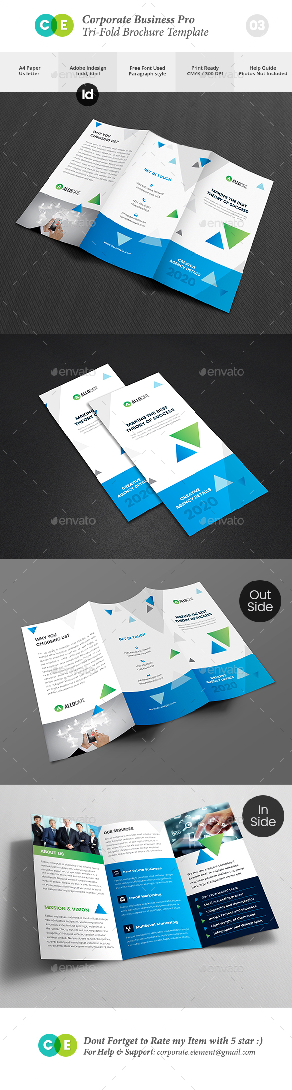 Corporate Business Pro Tri-Fold Brochure V03 - Brochures Print Templates