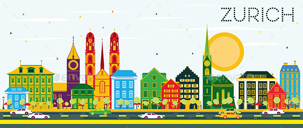 Zurich Skyline with Color Buildings and Blue Sky - Buildings Objects