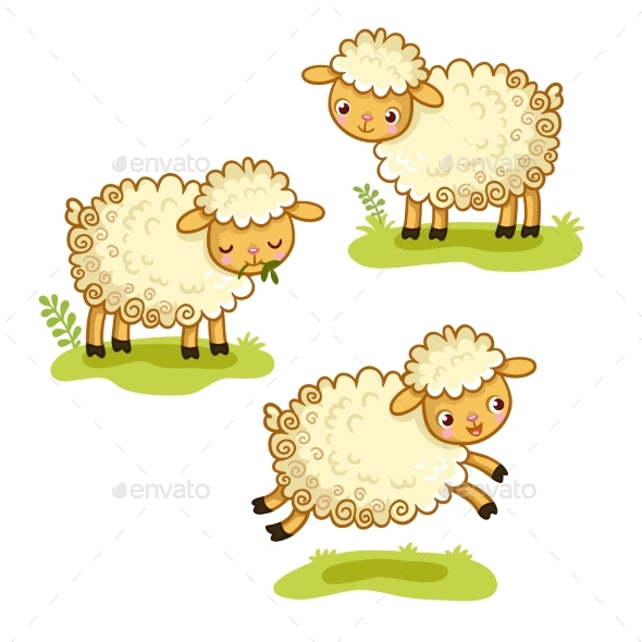 Cartoon Sheep Set - Animals Characters