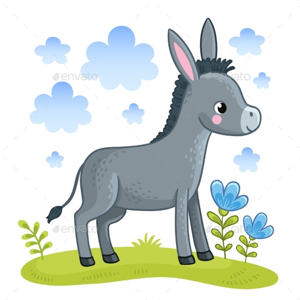 Donkey Standing in a Clearing - Animals Characters