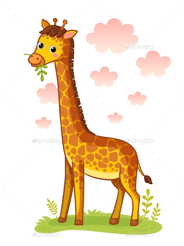Giraffe Standing on Meadow and Chews Grass - Animals Characters