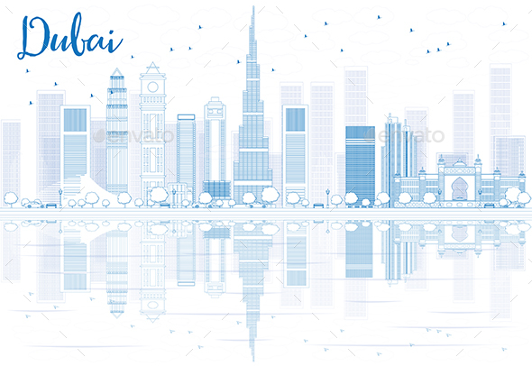 Outline Dubai Skyline with Blue Buildings and Reflections - Buildings Objects