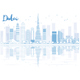Outline Dubai Skyline with Blue Buildings and Reflections - GraphicRiver Item for Sale