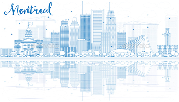 Outline Montreal Skyline with Blue Buildings and Reflection - Buildings Objects